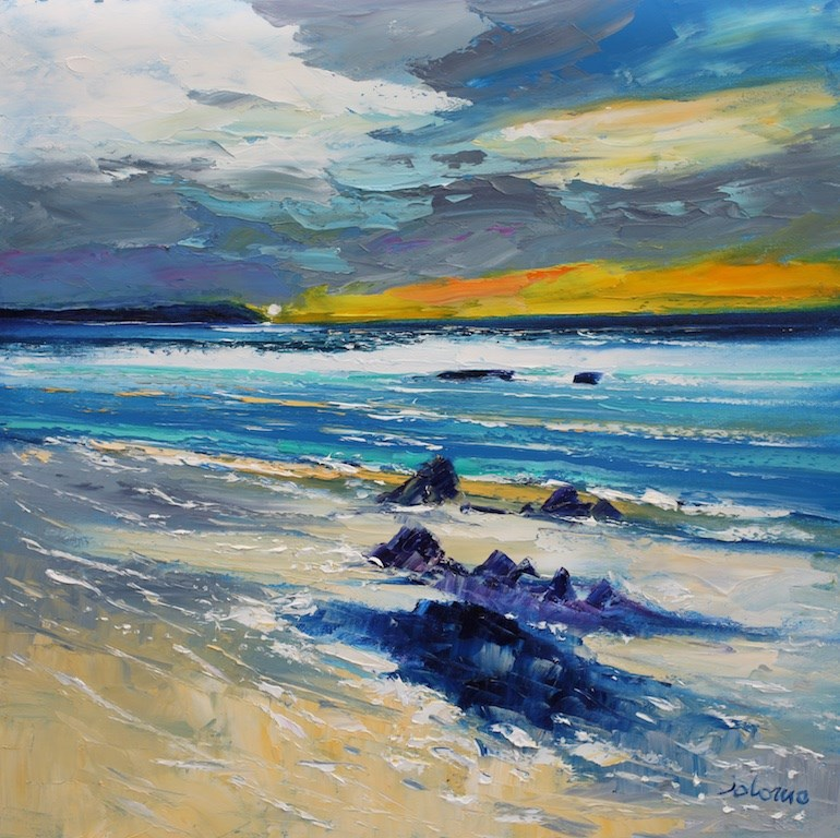 Winter Eveninglight Saligo Bay Isle of Islay by John Lowrie Morrison -  sized 24x24 inches. Available from Whitewall Galleries